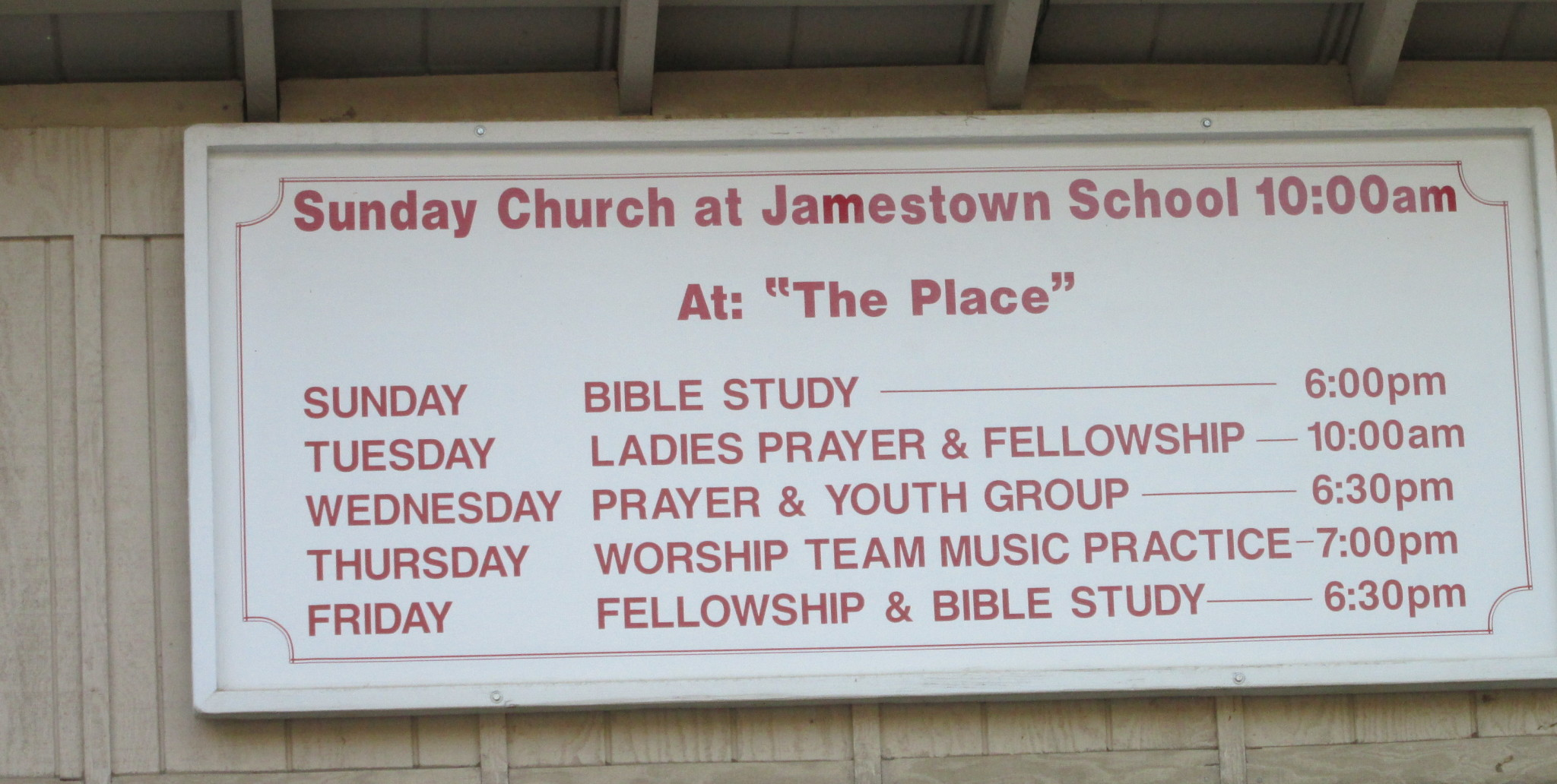 Our Weekly Worship & Fellowship Schedule