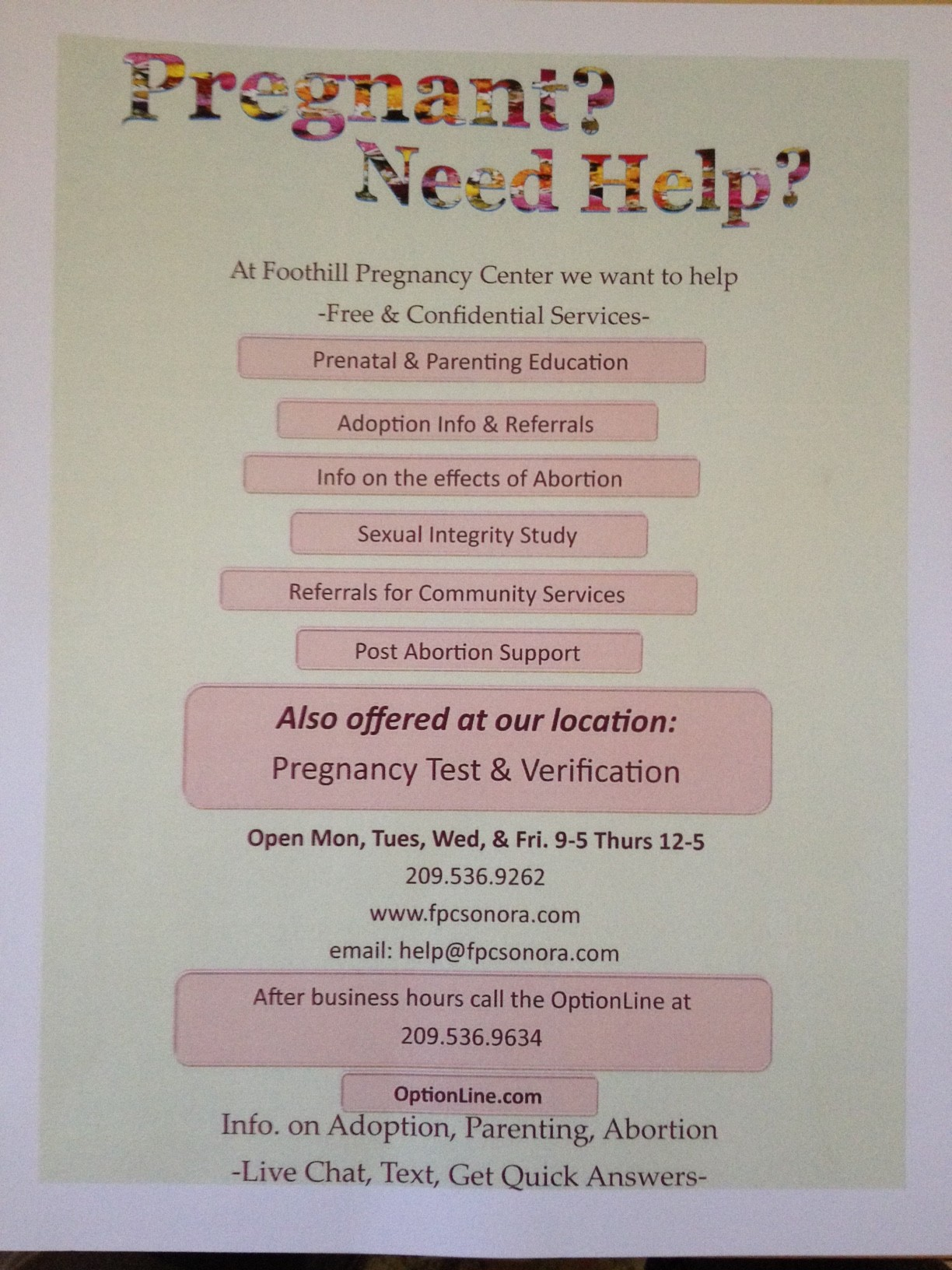 Pregnancy Help Sonora & Jamestown CA