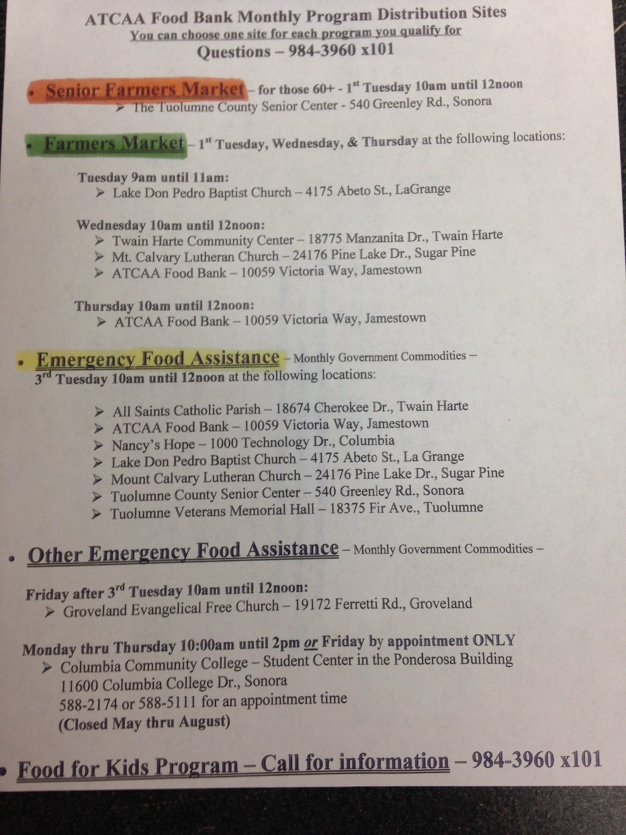 Food Bank Monthly Program Distribution Sites