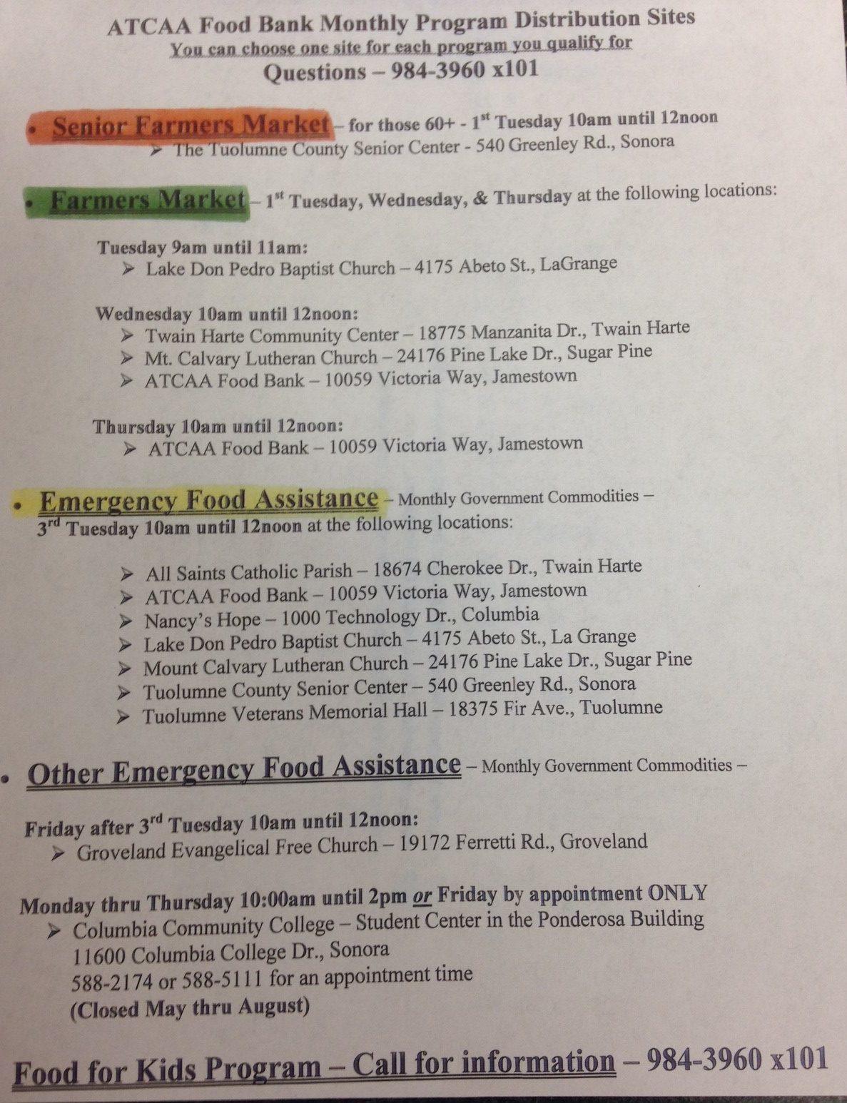 Food Bank Monthly Program Distribution Sites