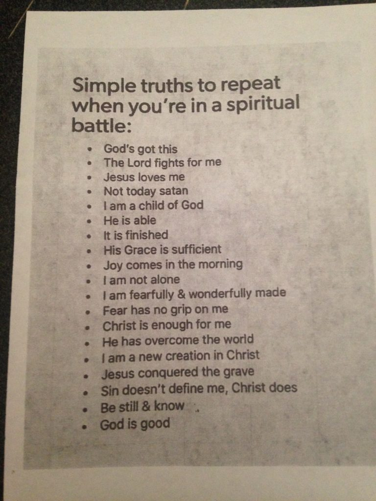 Spiritual Battle Truths of God Jamestown Christian Fellowship